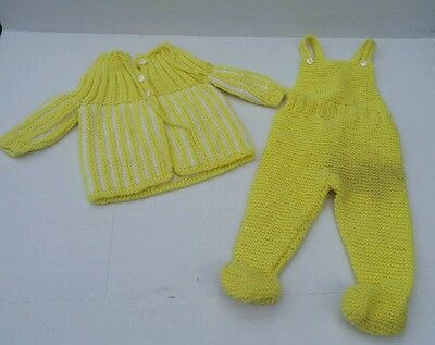 Vintage Handmade Yellow Knit Infant Baby Doll Pant & Sweater Set