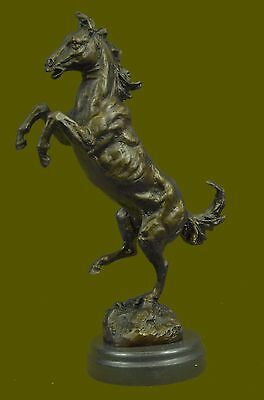 Vintage Made in Spain Metal Rearing Horse and Man Statue 100% Real  Bronze