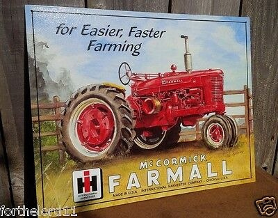 FARMALL International Harvester Tin Metal Sign Classic Wall Garage Barn Decor