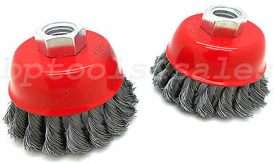 "(2) 3"" Knot-Type Fine Wire Cup Brush Wheel 5/8"" Arbor Fits 4-1/2"" Angle Grinder"