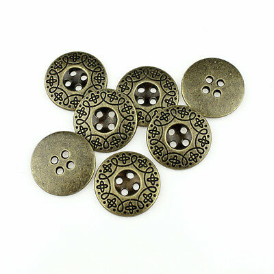 12PCS Metal Round Buttons Fashion Carving Stripe Antique Bronze Four Hole 21mm