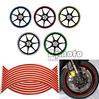 "3/8"" 9mm Motorcycle Reflective 18"" Wheel Sticker Rim Red for Honda Yamaha Ducati"