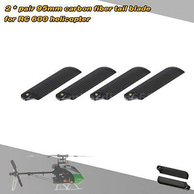 2 * Pairs Carbon Fiber 95mm Tail Blades for Align Trex 600 RC Helicopter 1N89