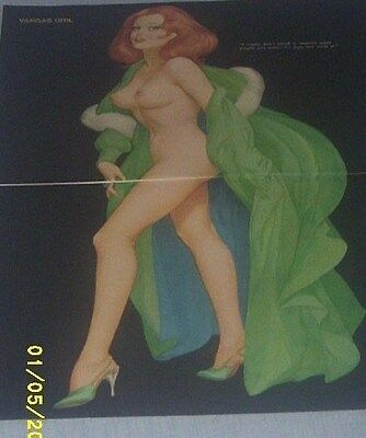 Vintage 1960's Original Alberto Vargas Girl Print Pin Up Playboy Centerfold