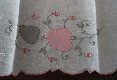 Vintage Linen Guest Hand Towel Madeira Pink Embroidered Applique Flower Gray