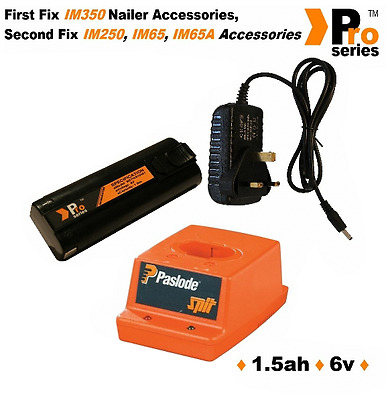 Pro Series Battery 1.5ah for Paslode nailer. Wall Charger . Paslode Charger Base