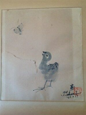 Antique original Chinese / Japanese  water color on paper painting (m447)