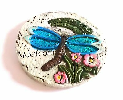Decorative Stepping Stone Blue Dragonfly Design Round Garden Lawn Path Ornaments