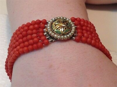 Antique red blood Coral beads Chinese 14k gold pearls bracelet 23.4 gram (m829)