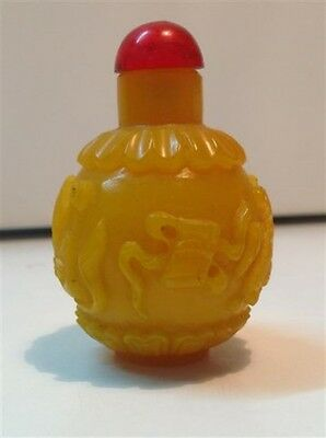 Antique Chinese yellow Peking glass snuff bottle Qing Dynasty (m907)
