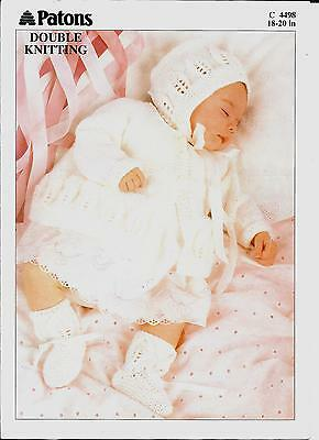 "Patons 4498 Vintage Baby Knitting Pattern DK 18-20"" Bonnet Cardigan Bootees"