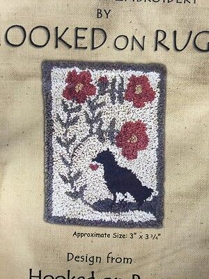 Hooked On Rugs FLOWERS AND CROW punch needle pattern and weavers cloth