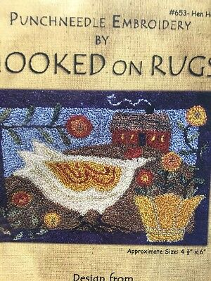 Hooked On Rugs HEN HOUSE punch needle pattern and weavers cloth