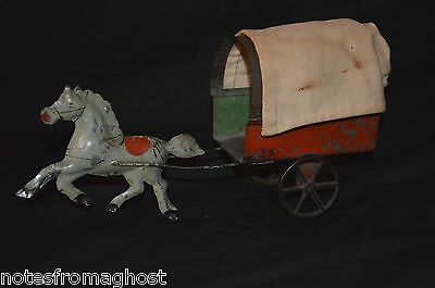 Antique Tin Toy Covered Wagon With Green Horse ~ George Brown /hull Stafford ?