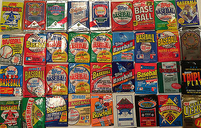 20 Unopened PACKS of Vintage Old Baseball Cards frm Wax Box Case 1986-1992