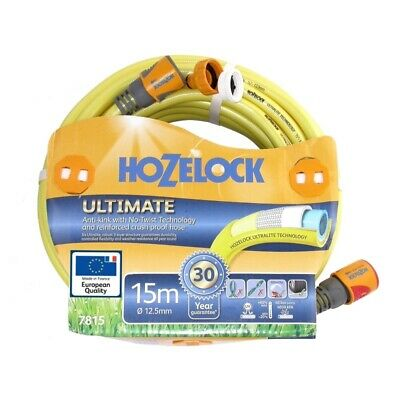 Hozelock Ultimate Knitted YELLOW Garden Hose 12.5mm x 15m with fittings-7815