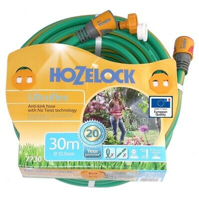 Hozelock Ultraflex Knitted GREEN Garden Hose 12.5mm x 30m with fittings-7730