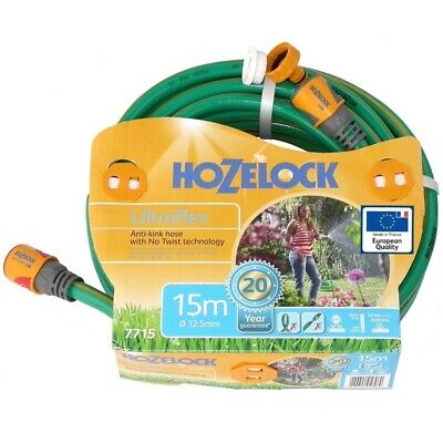 Hozelock Ultraflex Knitted GREEN Garden Hose 12.5mm x 15m with fittings-7715