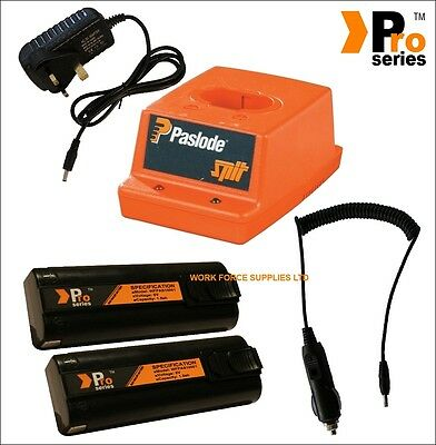 2xProSeries Batteries for Paslodenailer,Wall Charger,Paslode  Base,InCar Charger