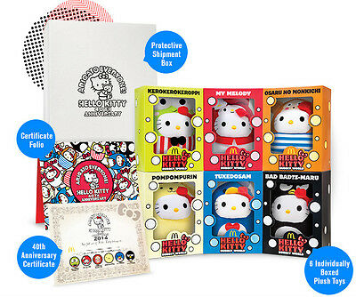 A set of 6 Limited Edition McDonald's Hello Kitty Plush Toy  - LN017