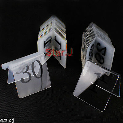 30pcs Tent Style Acrylic Table Numbers Wedding Restaurant Cafe Office Sign Stand