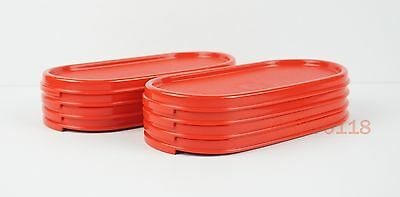 Tupperware Modular Mates Red Oval Lids Set of 8 + Free Shipping