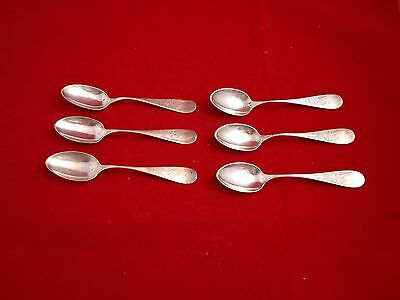 6 Sterling Silver Teaspoons with Brite Cut Flower Design  (#459)