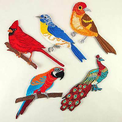 Bird Parrot Cardinal Peacock Applique DIY Patches Embroidered Iron On Patch