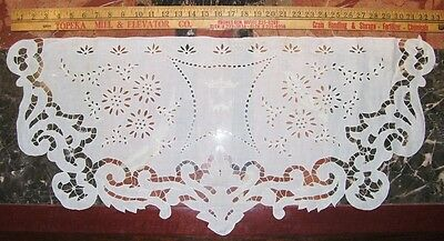 Antique White on White Embroidered Italian Linen Reticella Buffet Top Runner