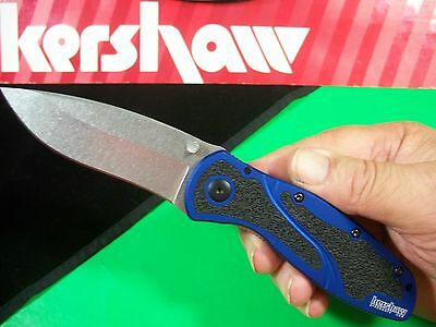 "KERSHAW  ""USA"" Blue & Black BLUR spring assist SPEEDSAFE knife Navy kai 1670NBSW"
