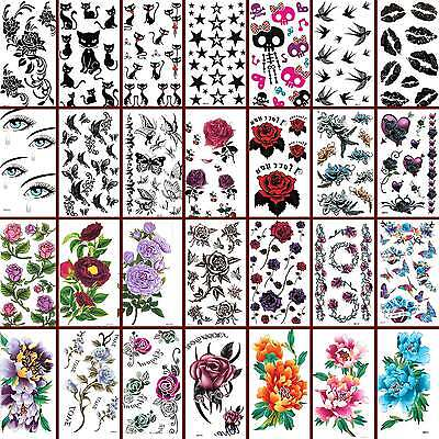 Temporary Tattoos Rose Flower Body Art Waterpoof Fancy Dress - Multichoice