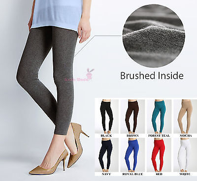 Women's Solid Winter Thick Warm Fleece Lined Thermal Stretchy Leggings Pants