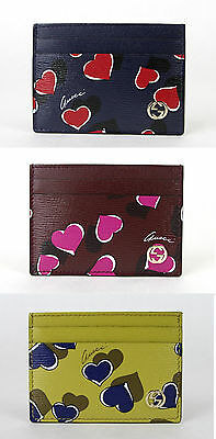 NEW GUCCI Betty Heartbeat Leather Card Case Holder Wallet Interlocking G 334483