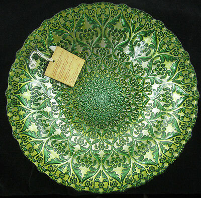 "NEW  12"" Glass Bowl Turkish green and Gold Food Safe"