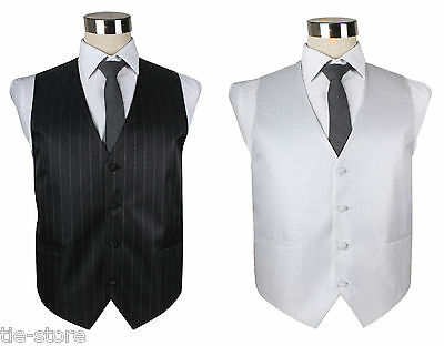 Mens High Quality Pin Stripe Pinstripe Vest Waistcoat Wedding Tuxedo Black White