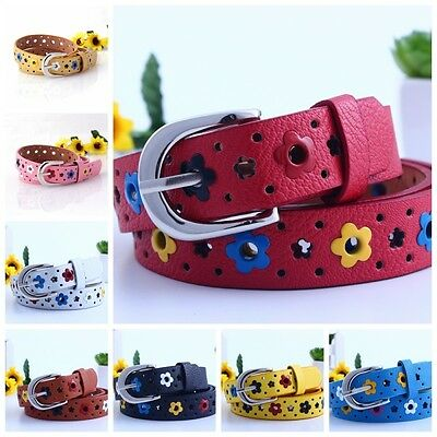 Lovely Kids Girls Boys Faux Leather Hollow Flower Waistband Belt Silver Buckle
