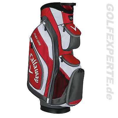 "Callaway Golf Staff Bag Chev Org 15 Cartbag 10""-Top 14-Way Divider Rot Grau Weiß"