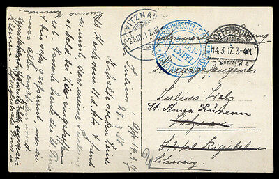 "Feldpost I. Wk, DB ""OFFENBURG 14.3.17"", blauer Brief-K2 (1686003519)"