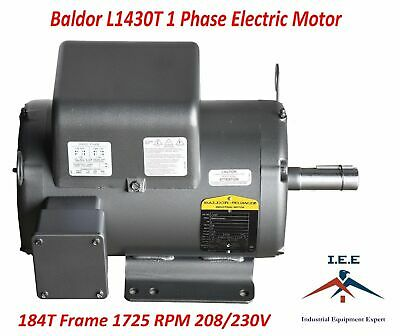 5 HP Single Phase Baldor Electric Compressor Motor 184T Frame L1430T 230V 1725
