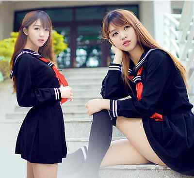 Japanese School Uniform Girl Sailor Babydoll Outfit Fancy Dress Cosplay Costume