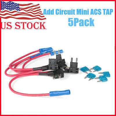 5 x 15A Add Circuit Mini Blade Fuse Boxe Holder ACS ATO ATC Piggy Back Tap US