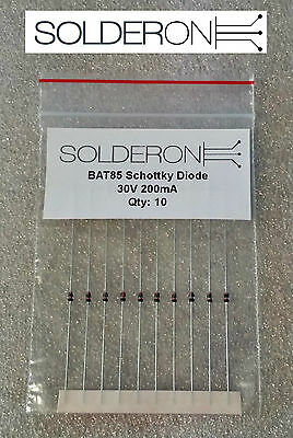 10pcs BAT85 Schottky Diode 30V 200mA DO35 - AU STOCK