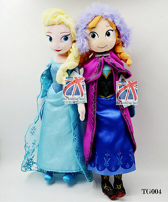 "2 pcs Frozen Princes Elsa / Anna 20"" 50cm Soft Stuffed Plush Doll Gift Toy TG004"