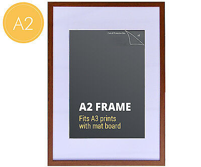 A2 Walnut Colour Photo Frame + Mat Board - Fits A3 or A2 Print - Picture Frame