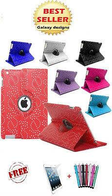 Leather Bling 360 degrees rotating iPad mini 3 2 1 case cover protector & stylus