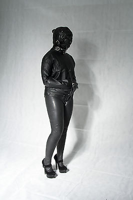 straight jacket with Total enclosure Hood, Hobble Skirt, corset. UK