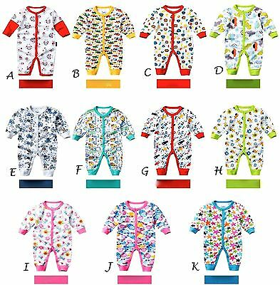 Baby Footless Cotton BabyGrow Sleepsuits Romper Sleepwear Playsuits,6,12,18,24m