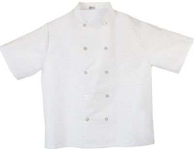 Fame Fabrics White Short Sleeve Chef Coat 10 Button Jacket Very Nice!