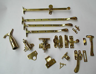 POLISHED BRASS-Victorian old style window fittings -CHOOSE FROM 13 OPTIONS