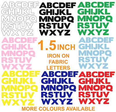 """IRON  ON die cut Fabric LETTERS! Approx size 1.5""""! in Various Colours!"""